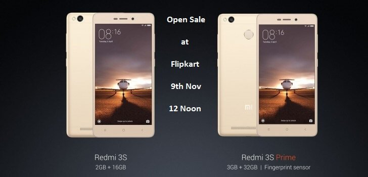 Xiaomi Redmi 3S & 3S Prime Open Sale At Flipkart On 9th November