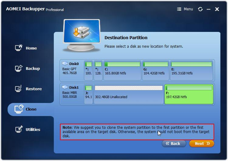 Select Destination Partition